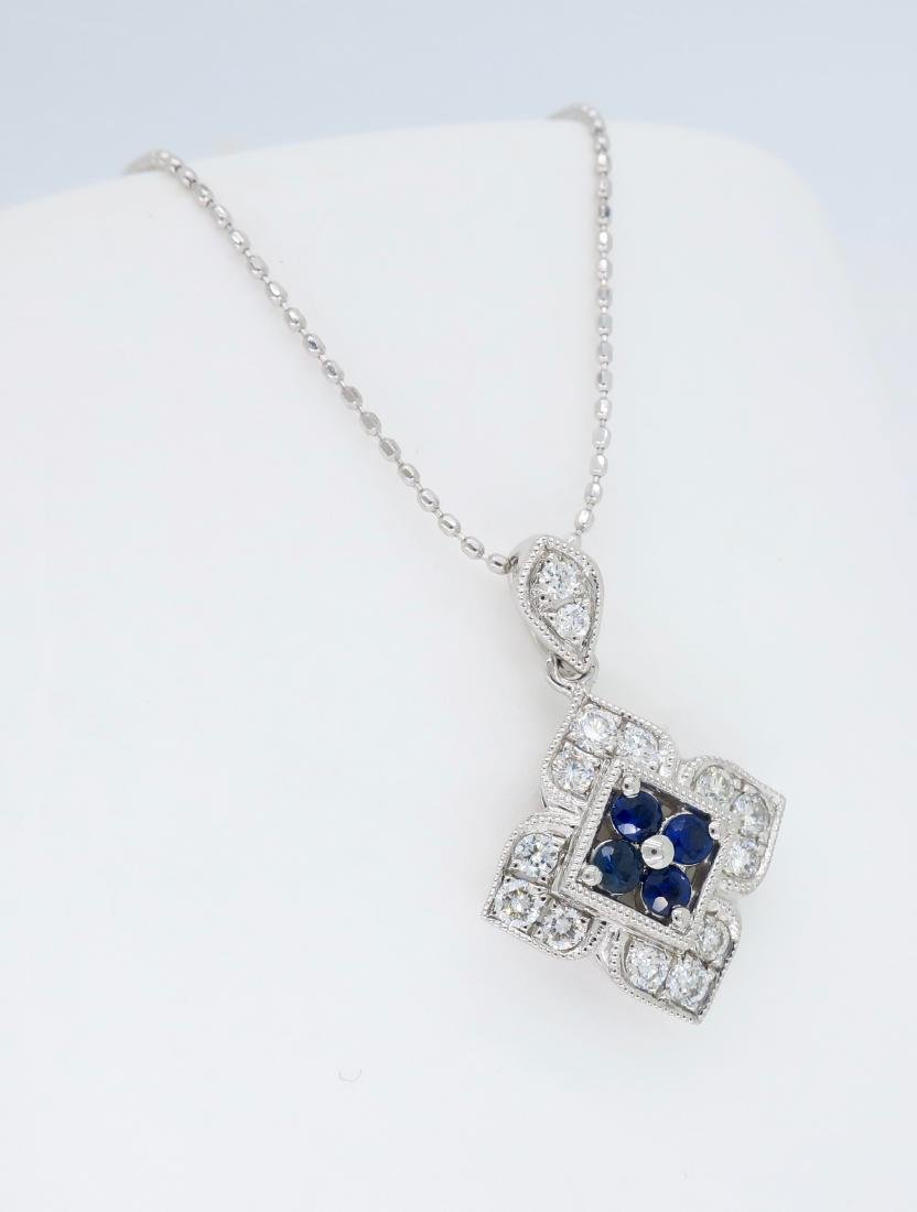 14KT White Gold Blue Sapphire and Diamond Pendant with - 3