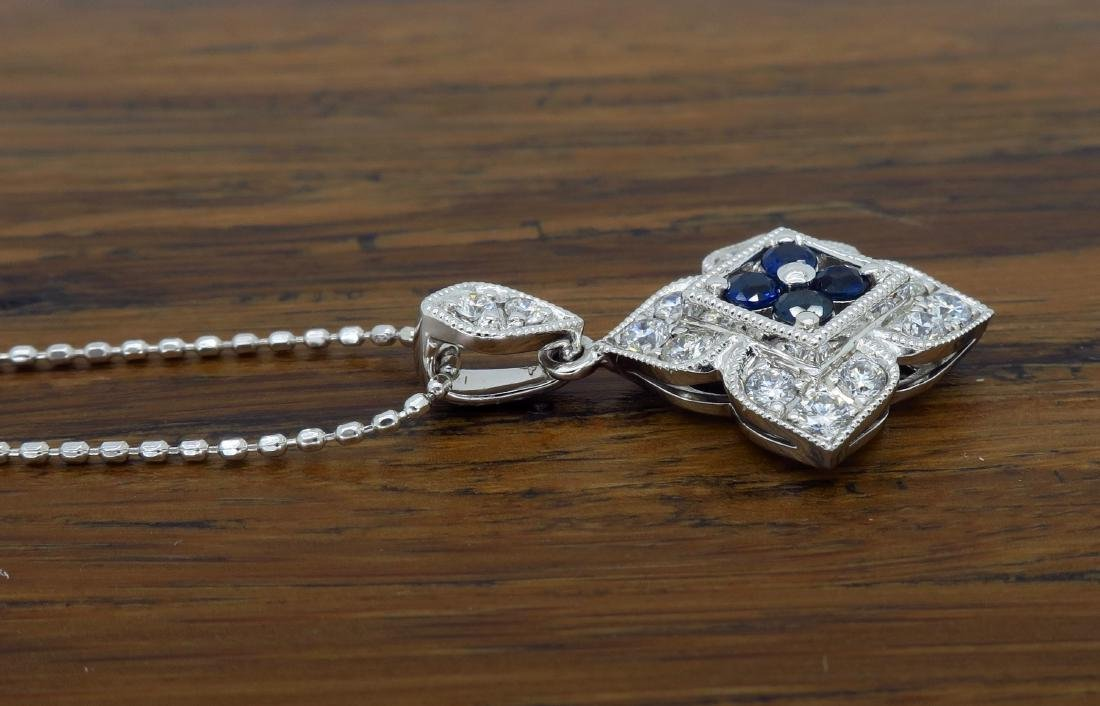 14KT White Gold Blue Sapphire and Diamond Pendant with - 4
