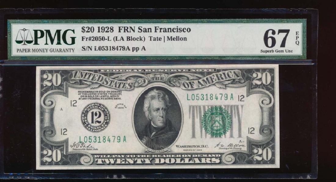 1928 $20 San Francisco Federal Reserve Note PMG 67EPQ
