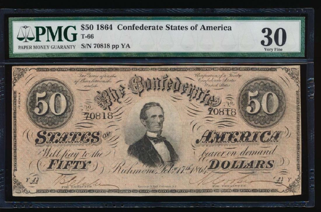 1864 $50 Confederate States of America Note PMG 30