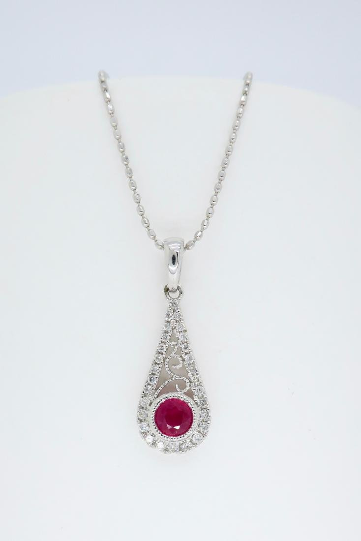 14KT White Gold .030ct Ruby and Diamond Pendant with