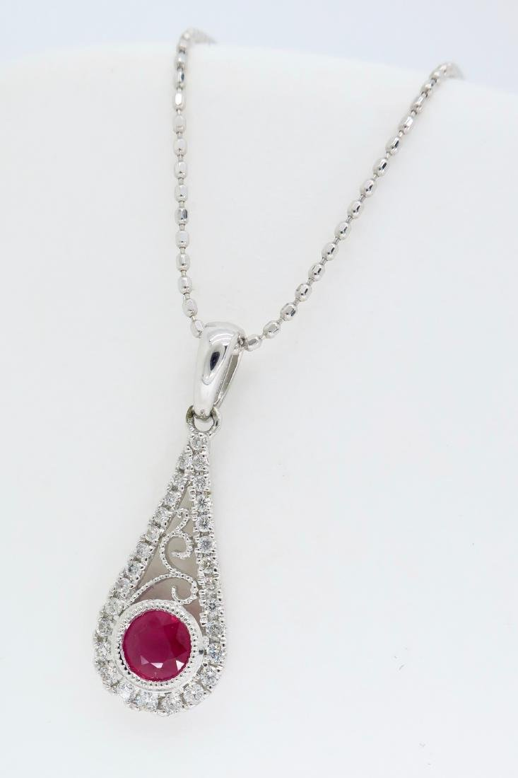 14KT White Gold .030ct Ruby and Diamond Pendant with - 2