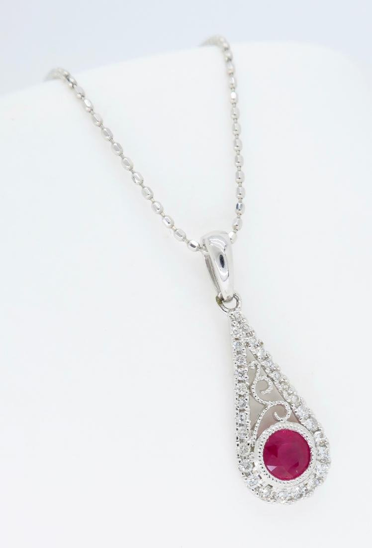 14KT White Gold .030ct Ruby and Diamond Pendant with - 3