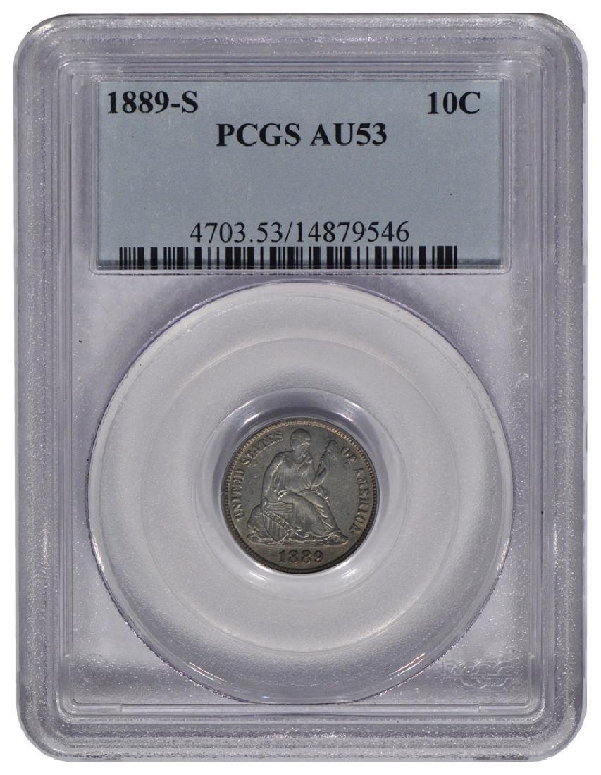 1889-S Seated Liberty Head Dime PCGS AU53