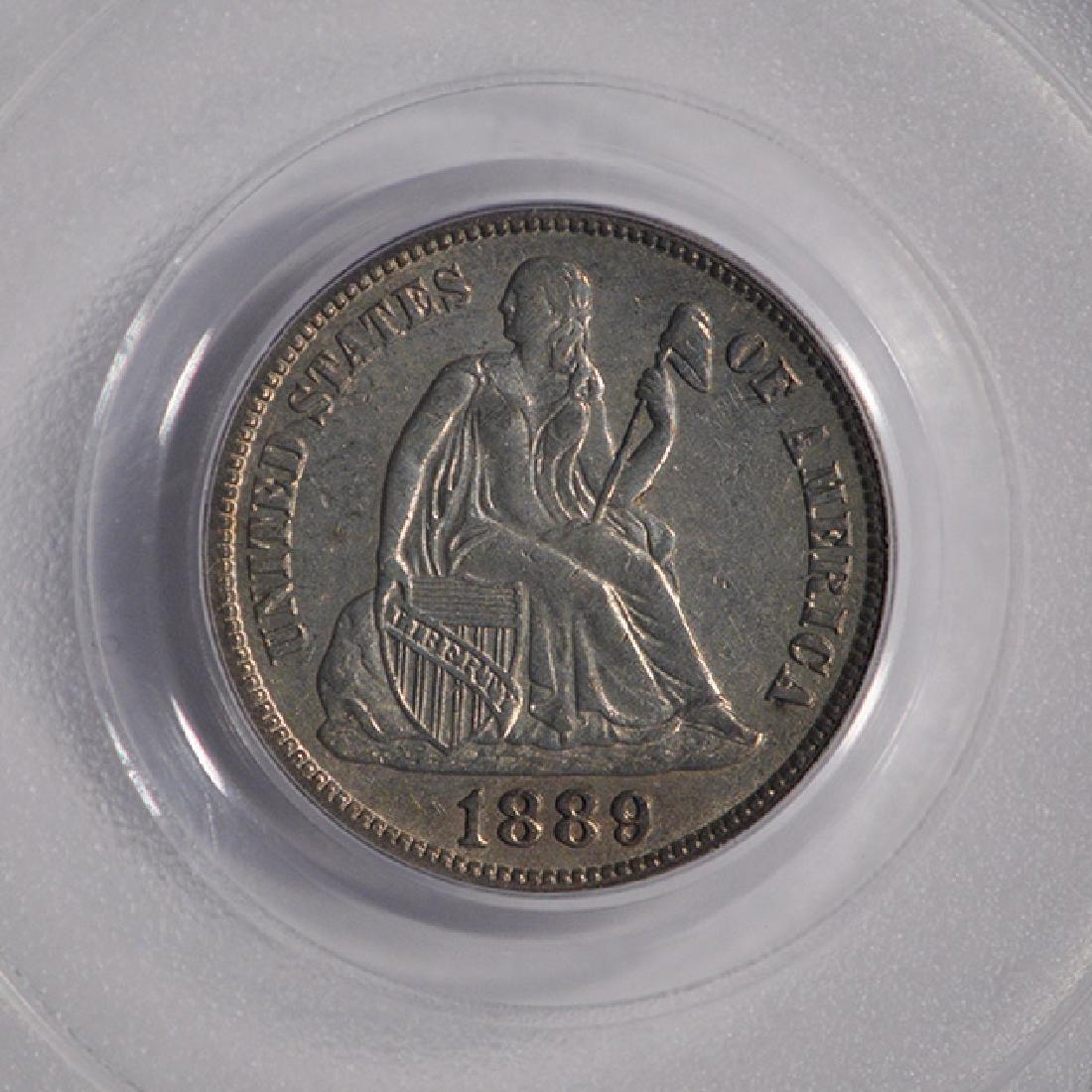 1889-S Seated Liberty Head Dime PCGS AU53 - 3