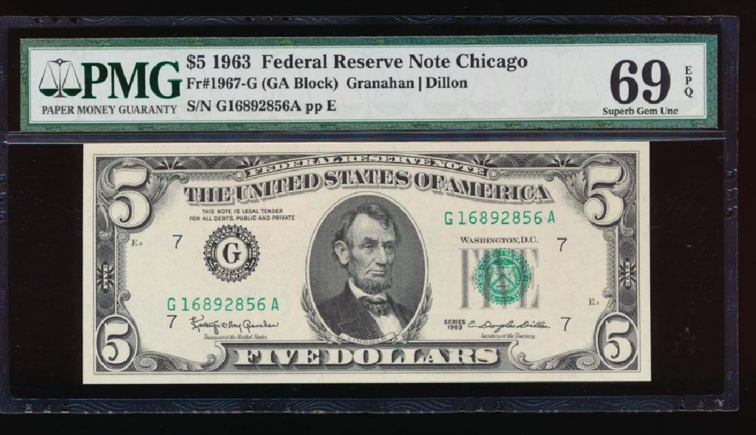 1963 $5 Chicago Federal Reserve Note PMG 69EPQ