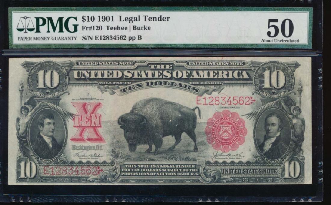 1901 $10 Bison Legal Tender Note PMG 50