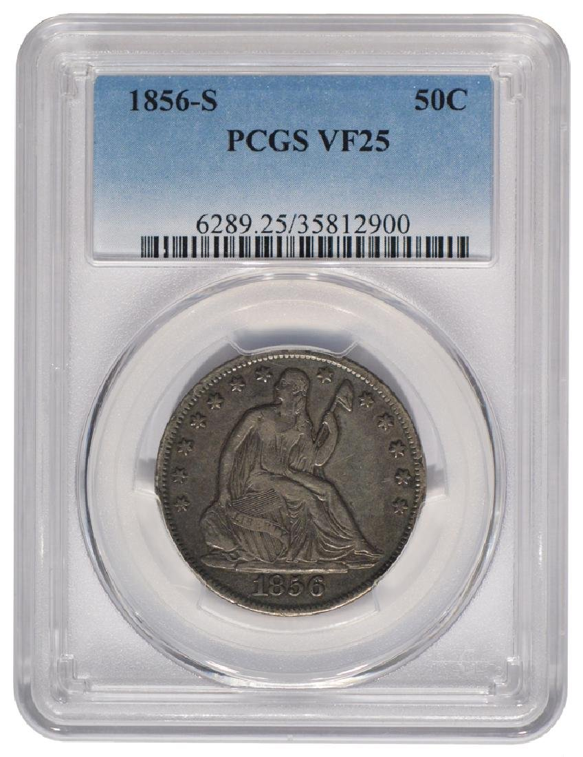 1856-S Liberty Seated Half Dollar Coin PCGS VF25
