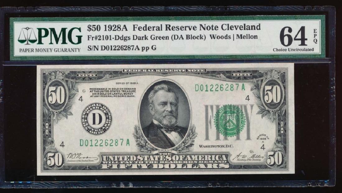 1928A $50 Cleveland Federal Reserve Note PMG 64EPQ