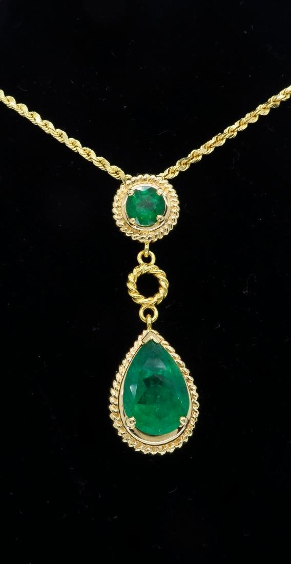 14KT Yellow Gold Emerald Pendant with Chain - 2