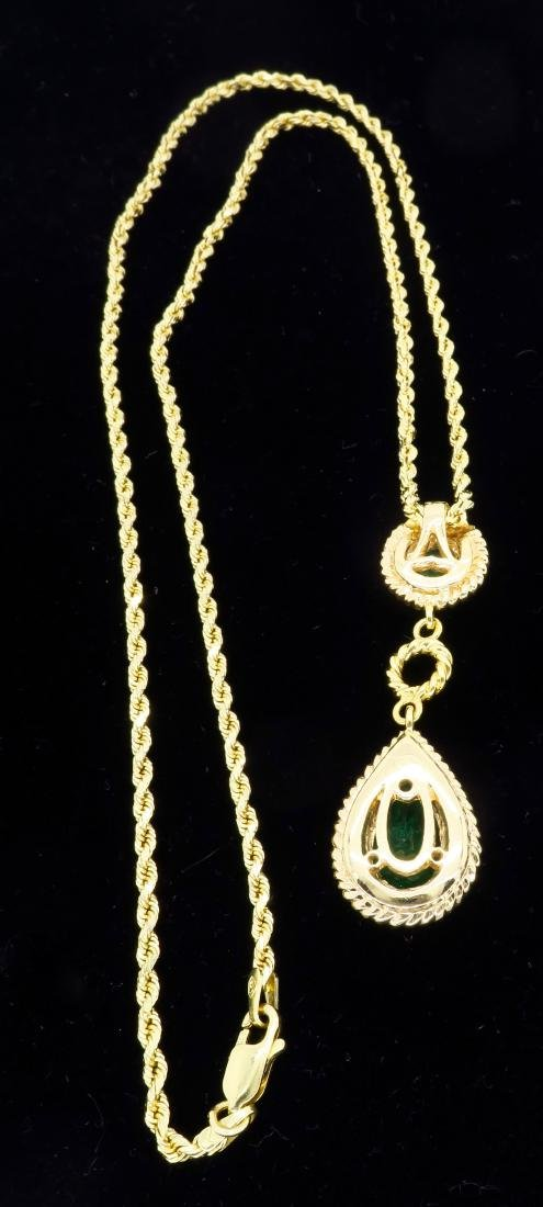 14KT Yellow Gold Emerald Pendant with Chain - 4