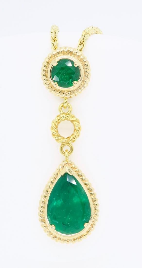 14KT Yellow Gold Emerald Pendant with Chain - 5