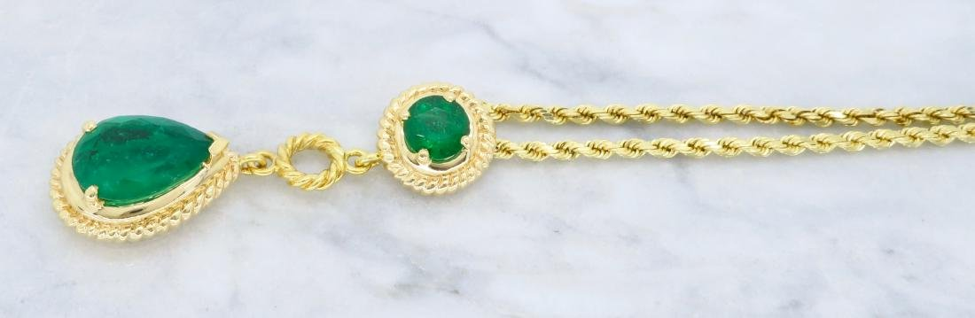 14KT Yellow Gold Emerald Pendant with Chain - 6