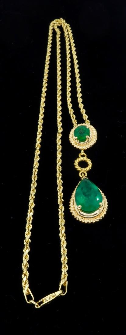14KT Yellow Gold Emerald Pendant with Chain - 7