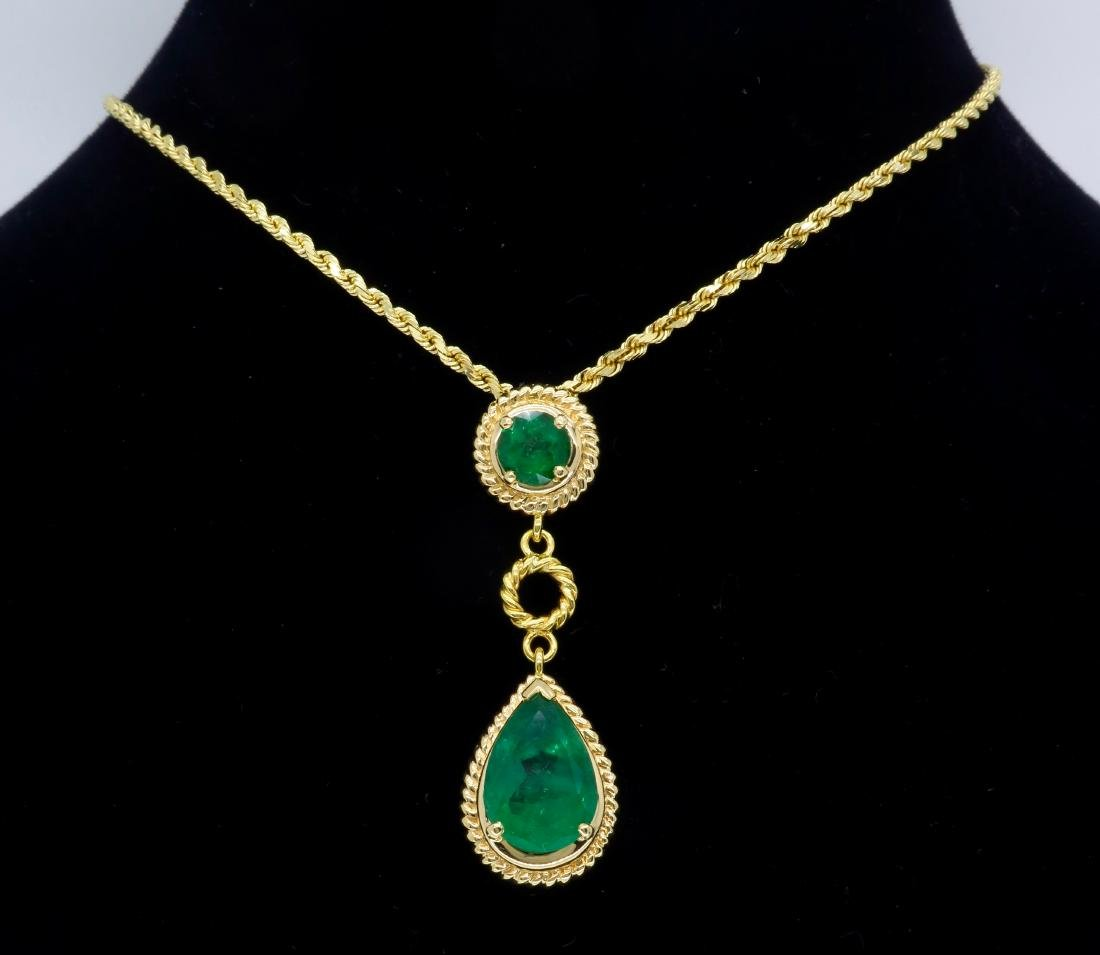 14KT Yellow Gold Emerald Pendant with Chain - 8
