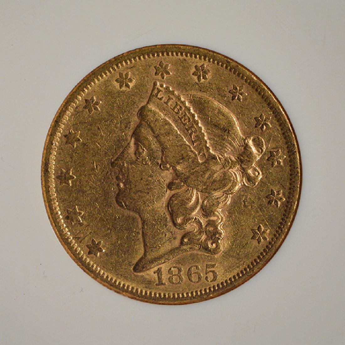 1865 $20 Liberty Head Double Eagle Gold Coin NGC XF45 - 3