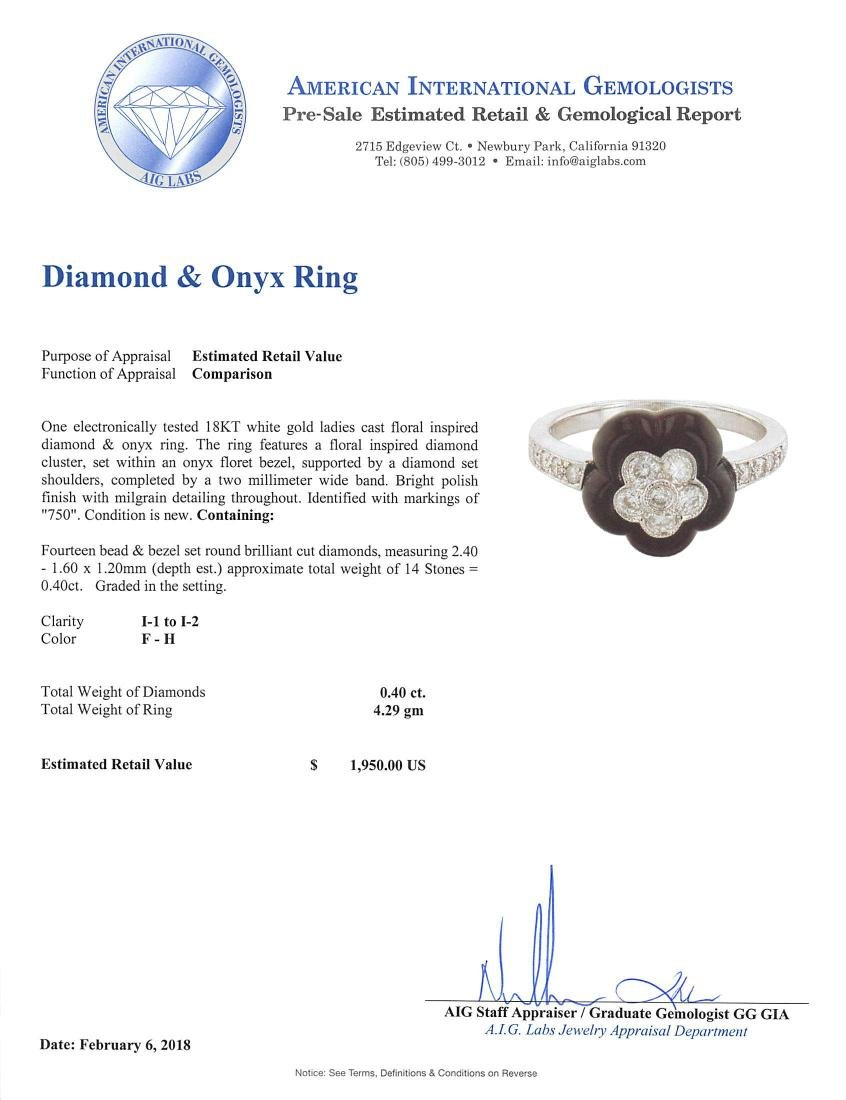18KT White Gold Onyx and Diamond Ring - 4