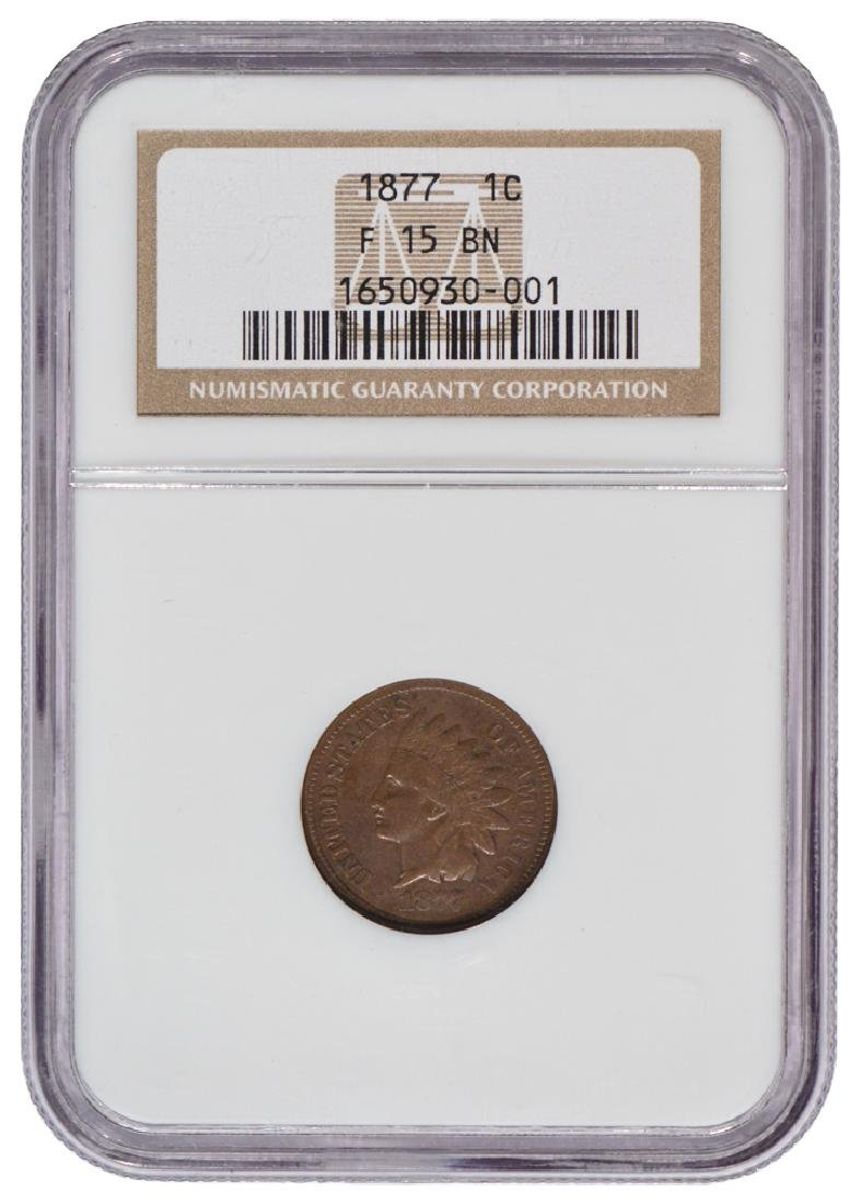1877 Indian Cent NGC F15BN