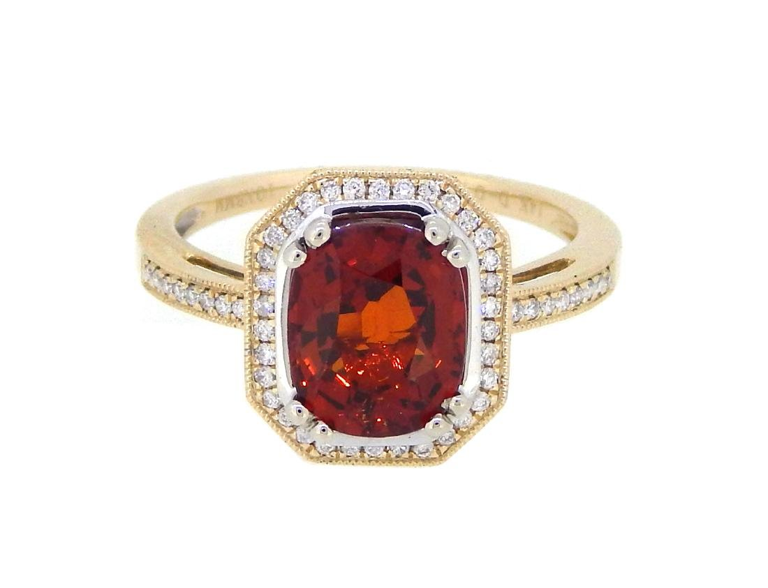 14KT Yellow Gold 2.91ct Garnet and Diamond Ring