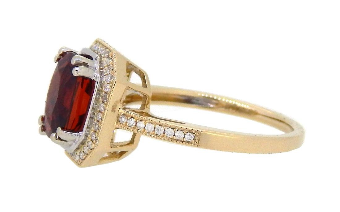 14KT Yellow Gold 2.91ct Garnet and Diamond Ring - 2