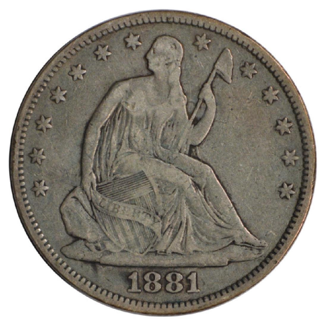 1881 Seated Liberty Half Dollar Coin