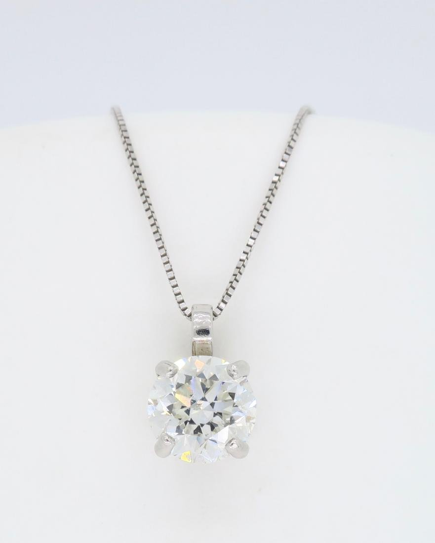 14KT White Gold 1.54ct Diamond Pendant with Chain - 2