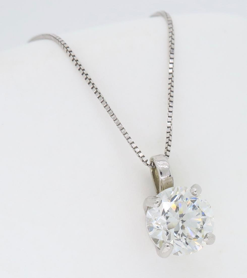 14KT White Gold 1.54ct Diamond Pendant with Chain - 3