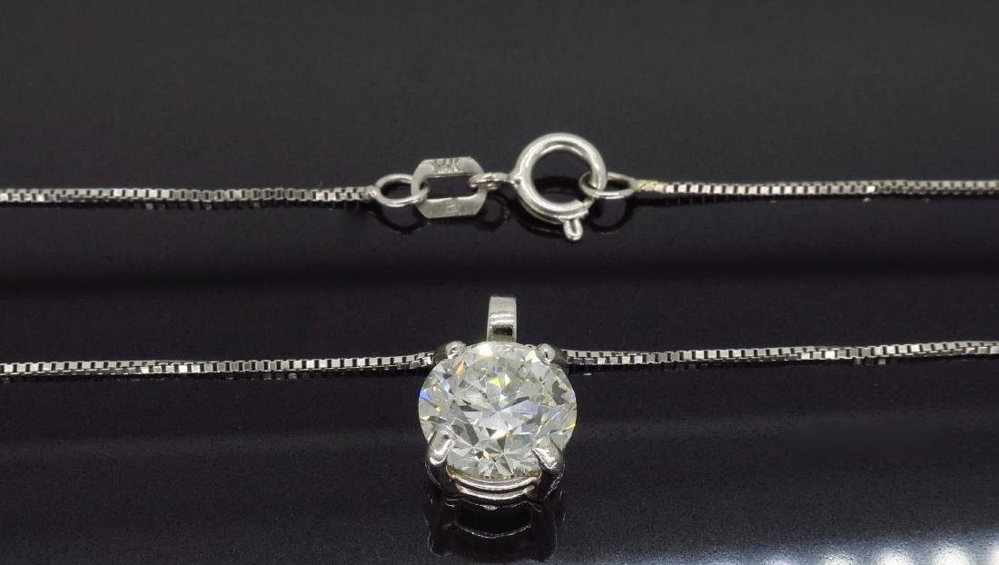 14KT White Gold 1.54ct Diamond Pendant with Chain - 4