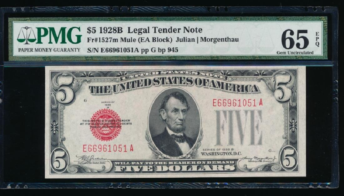 1928B $5 Legal Tender Note PMG 65EPQ