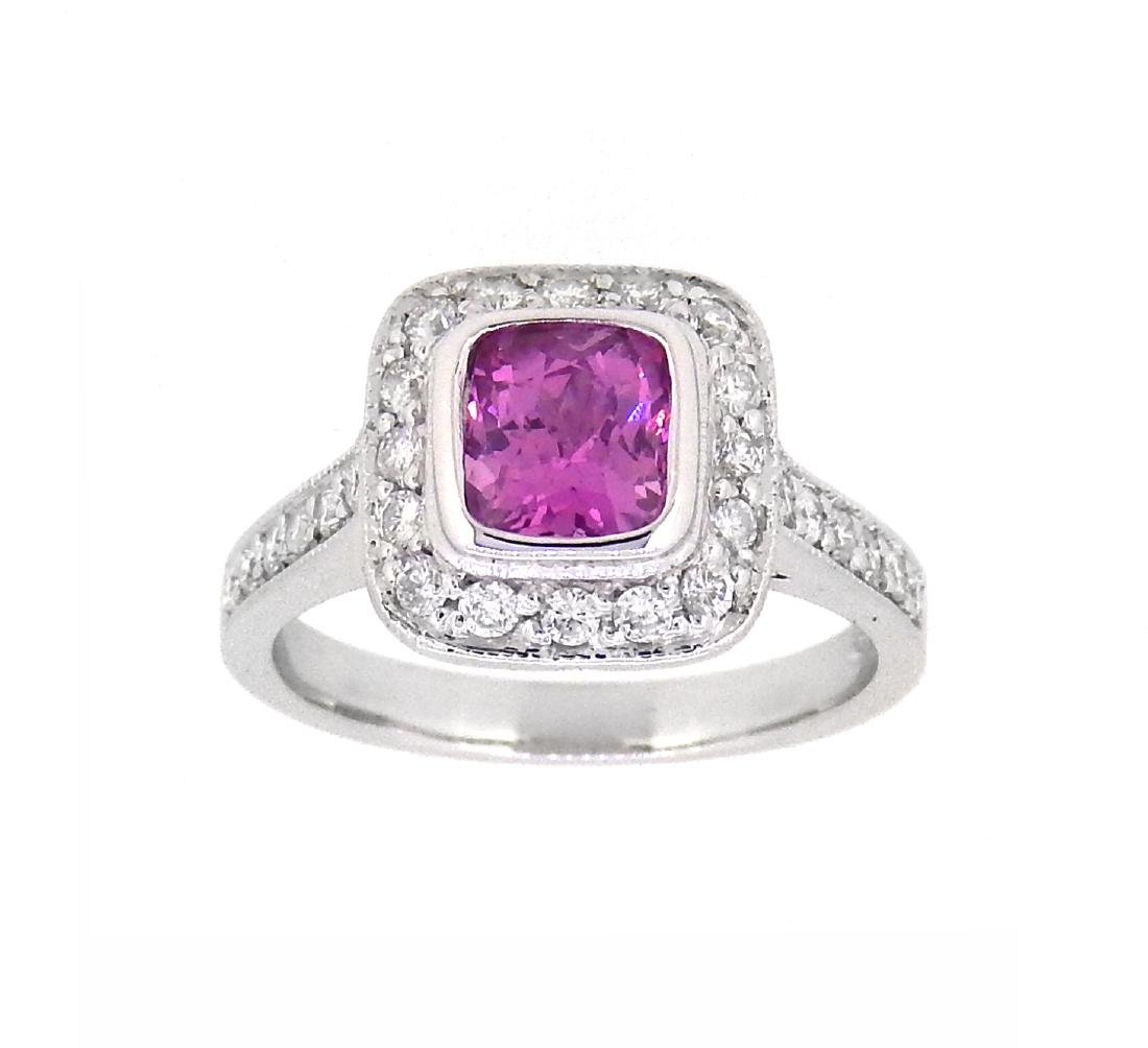 18KT White Gold 1.14ct GIA Cert Pink Sapphire and