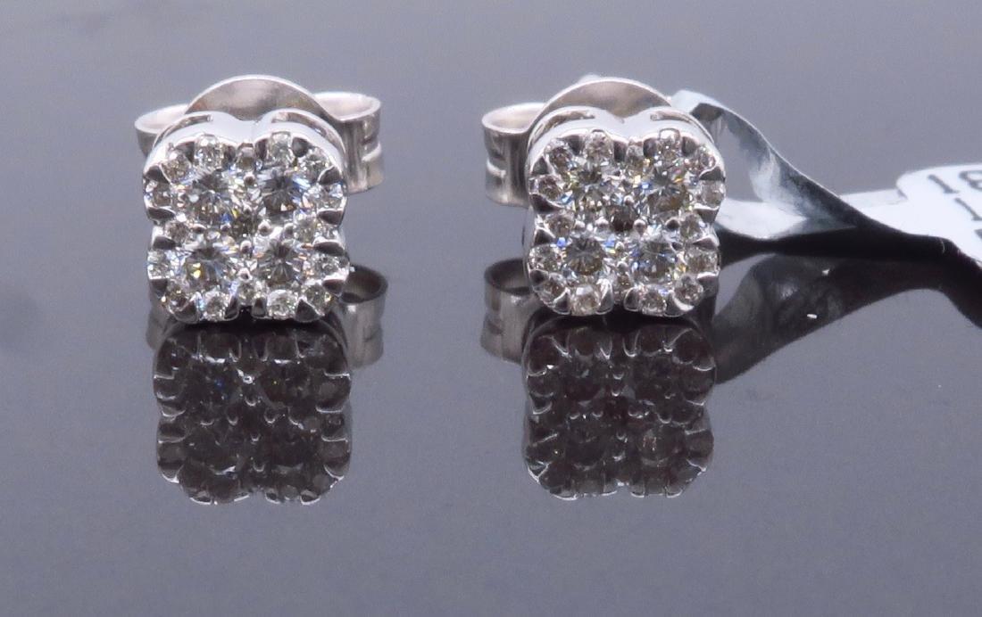 14KT White Gold 0.30ctw Diamond Earrings - 2