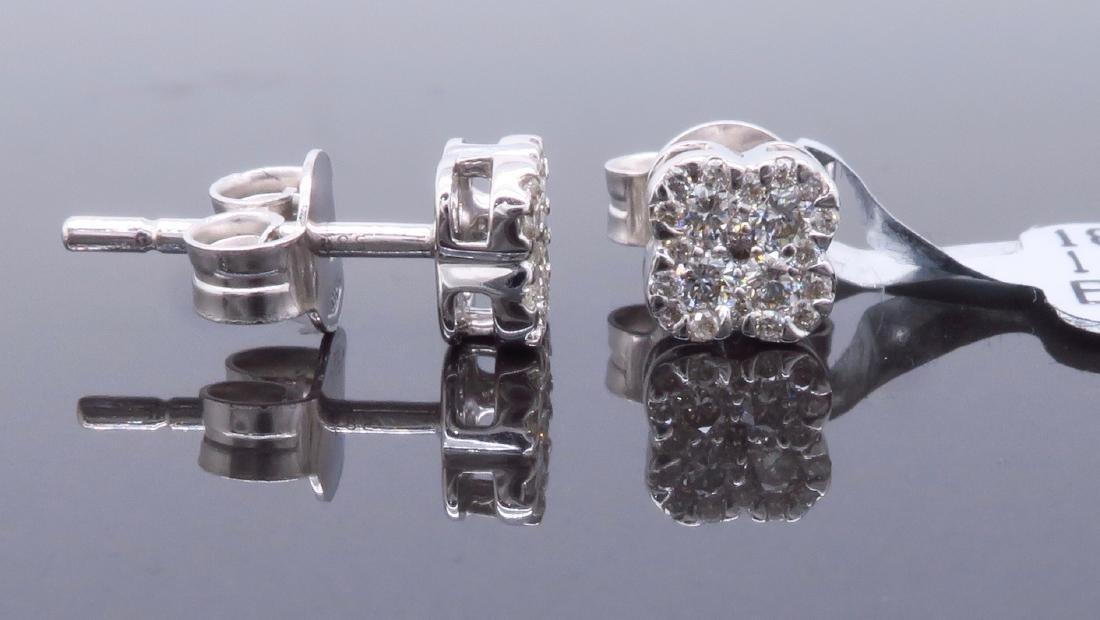 14KT White Gold 0.30ctw Diamond Earrings - 3