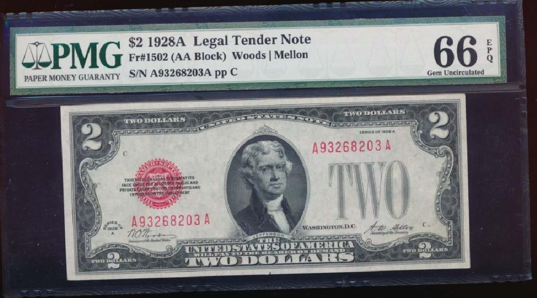 1928A $2 Legal Tender Note PMG 66EPQ