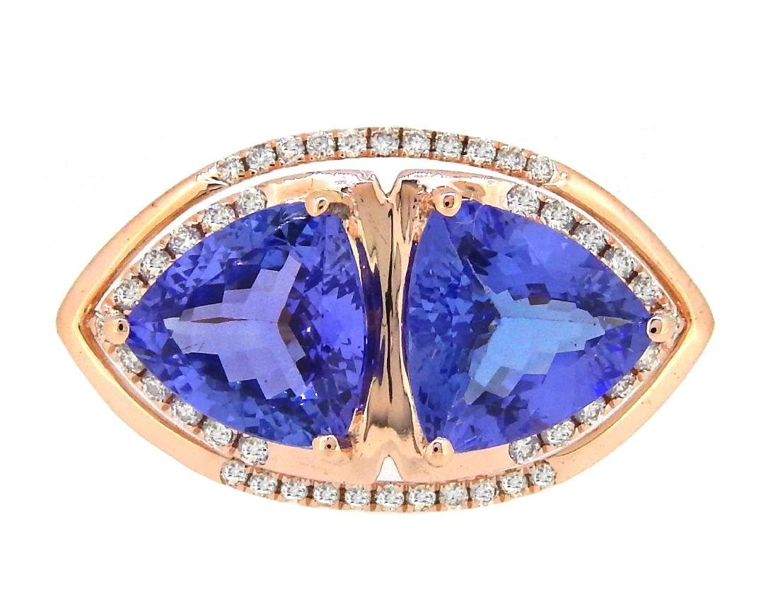14KT Rose Gold 4.66ctw Tanzanite and Diamond Ring