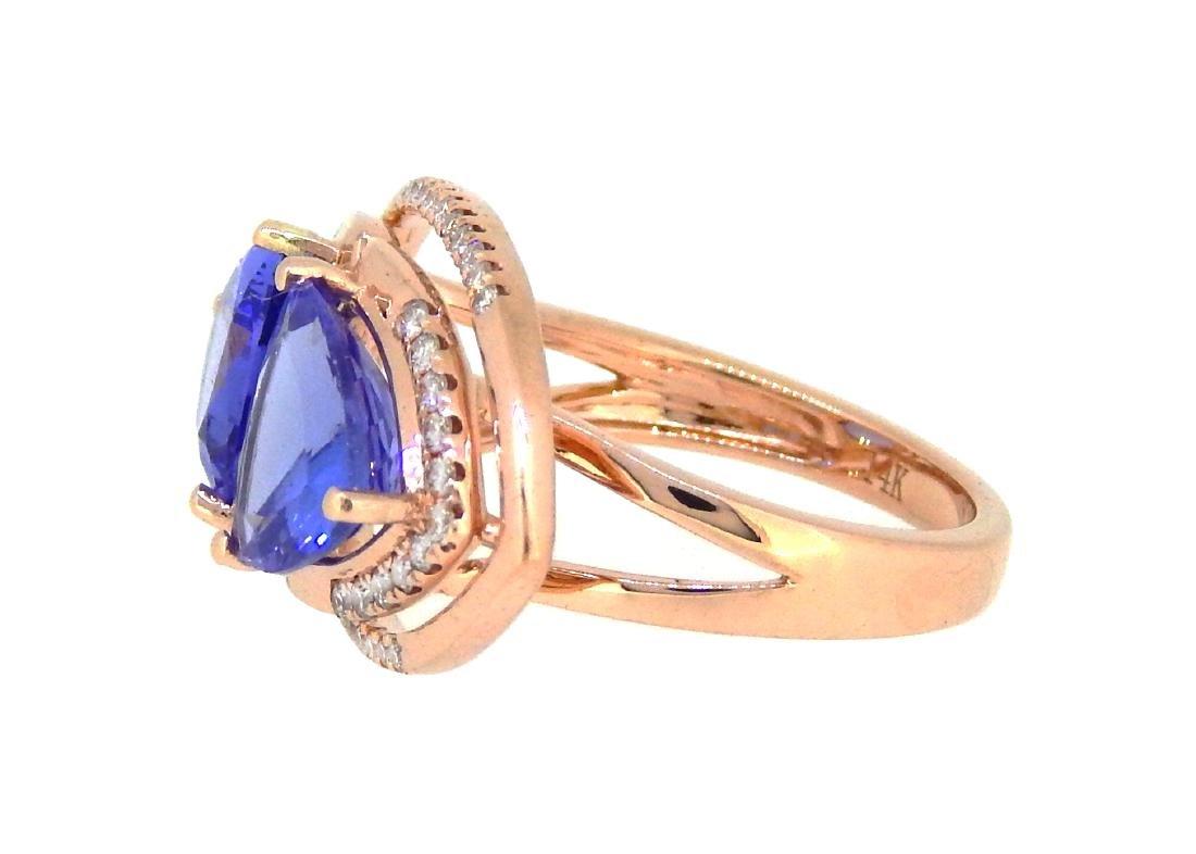 14KT Rose Gold 4.66ctw Tanzanite and Diamond Ring - 2