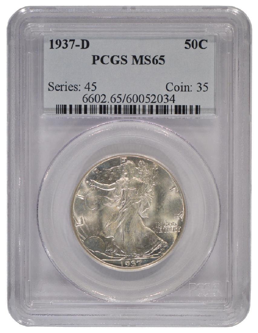 1937-D Walking Liberty Half Dollar Coin PCGS MS65