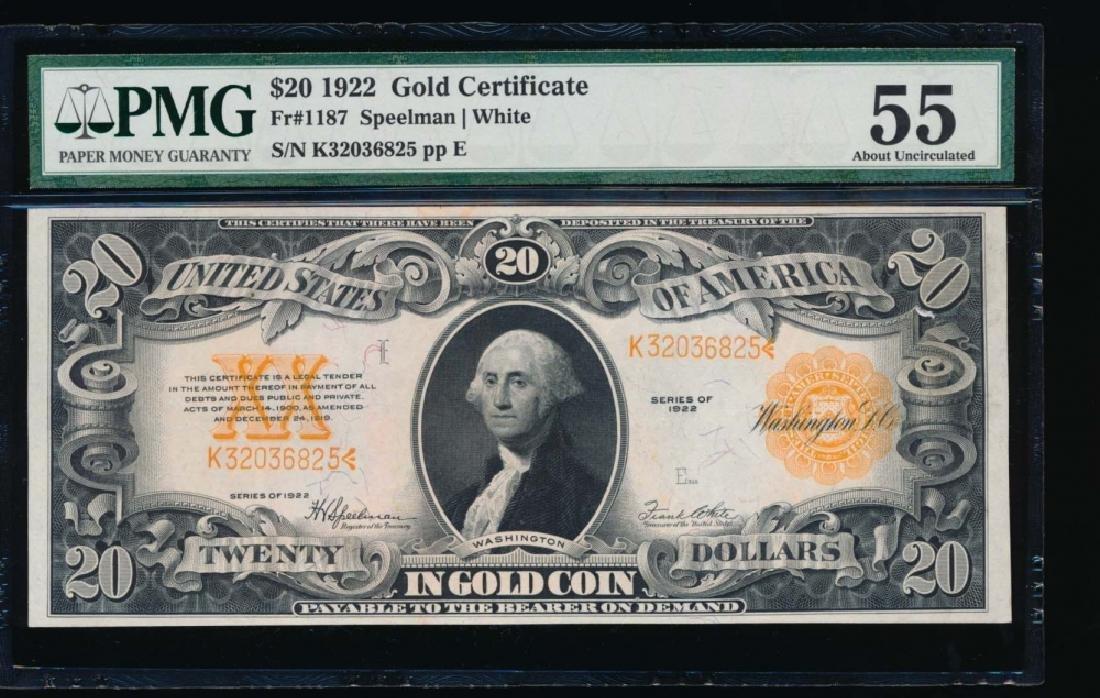 1922 $20 Gold Certificate PMG55