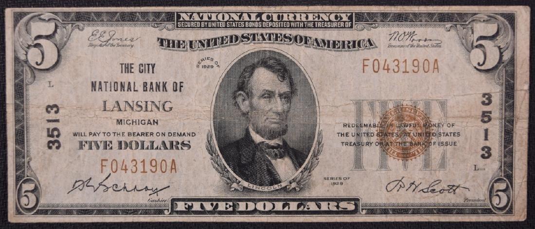 1929 $5 National Bank of Lansing Note