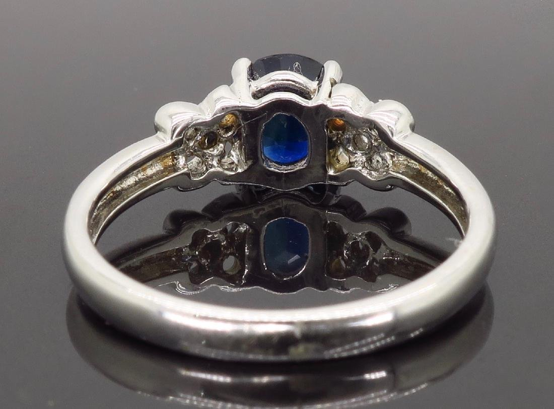 18KT White Gold Blue Sapphire and Diamond Ring - 3