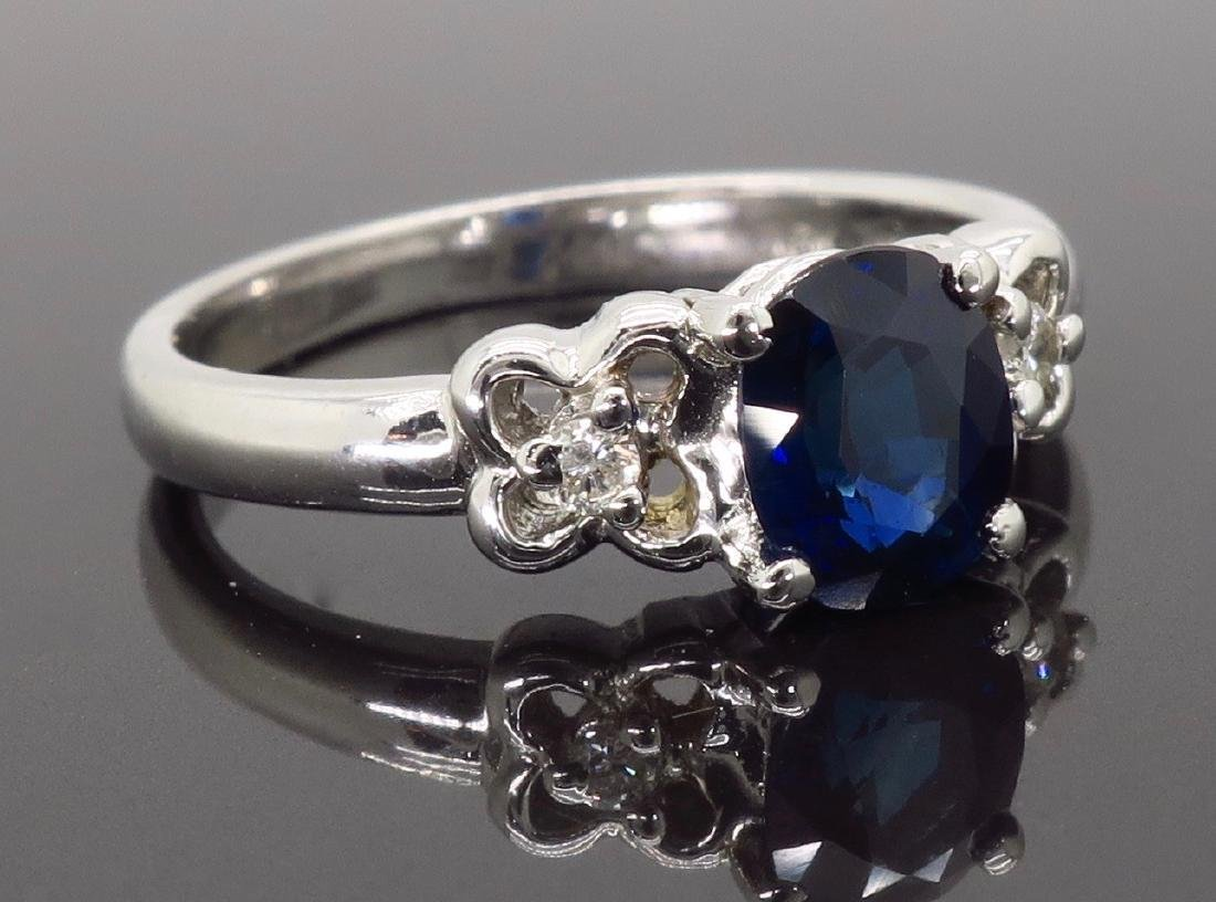 18KT White Gold Blue Sapphire and Diamond Ring - 4