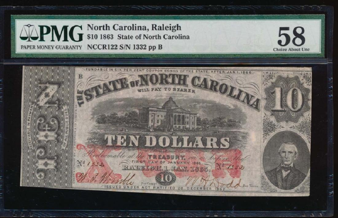1863 $10 State of North Carolina Obsolete Note PMG 58