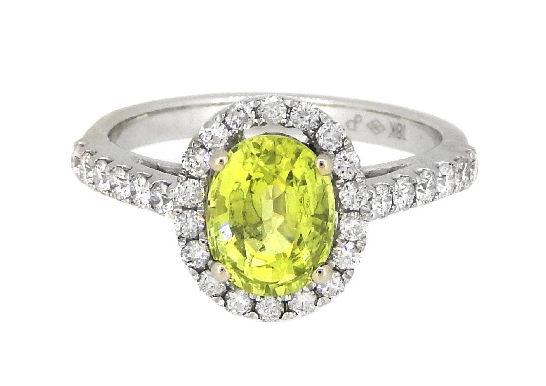 18KT White Gold 1.80ct GIA Cert Chrysoberyl and Diamond