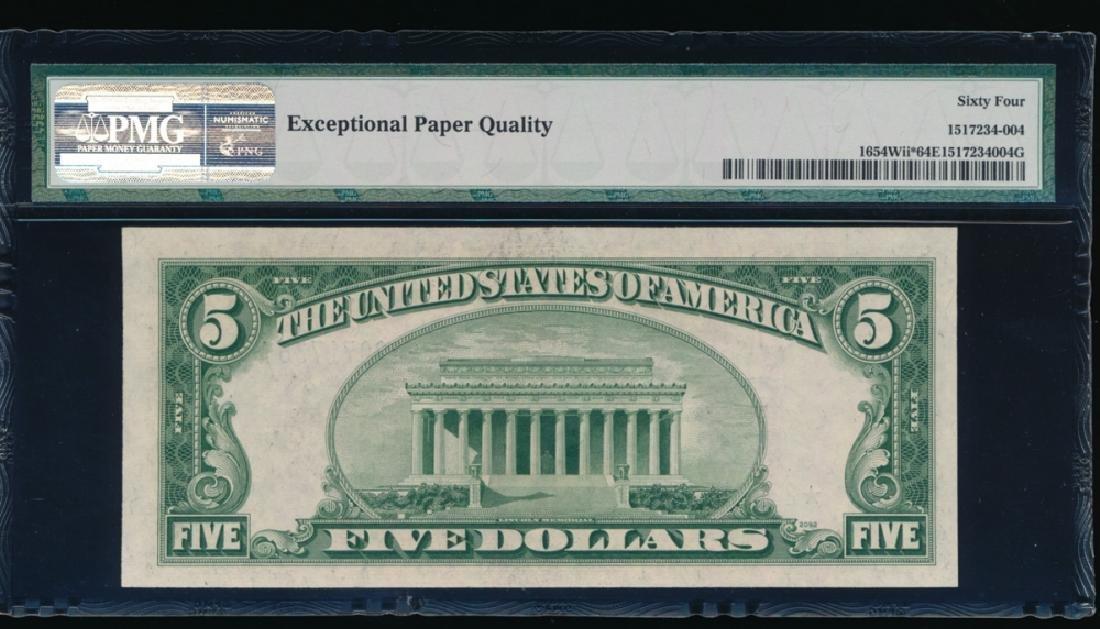 1934D $5 Silver Certificate Star Note PMG 64PPQ - 2
