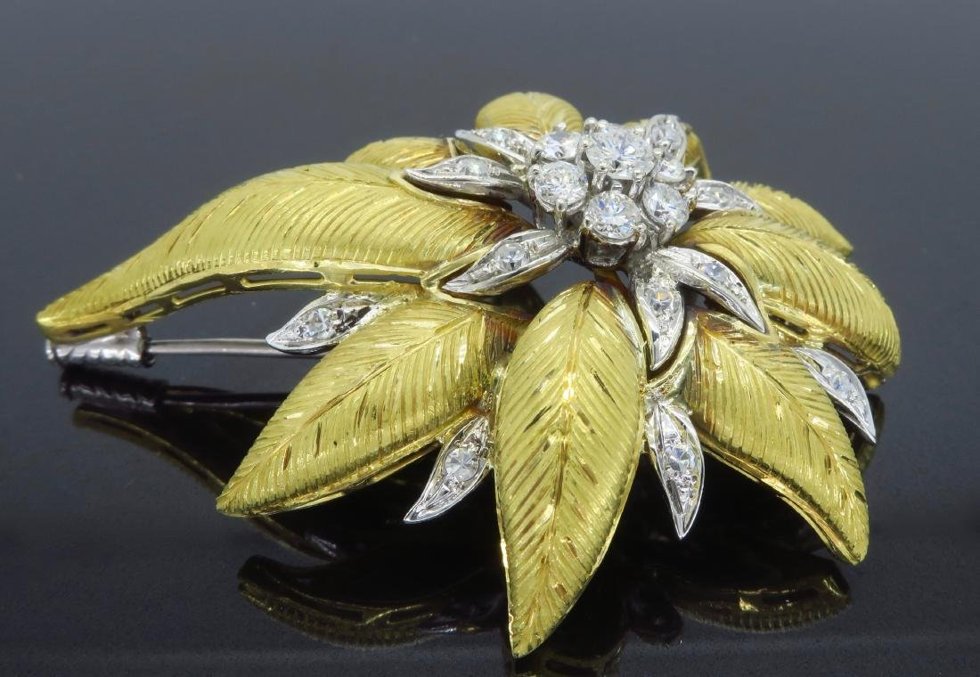 18KT Two Tone Gold 1.03ctw Diamond Brooch - 2