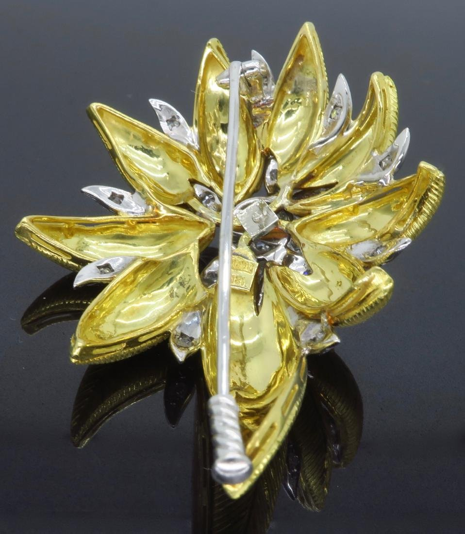 18KT Two Tone Gold 1.03ctw Diamond Brooch - 3