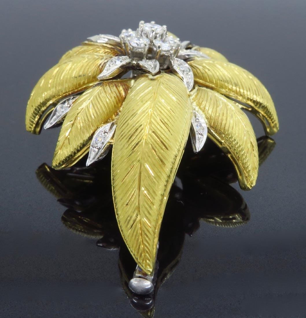 18KT Two Tone Gold 1.03ctw Diamond Brooch - 4