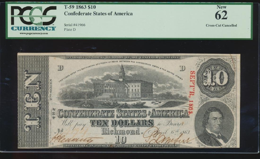 1863 $10 Confederate Cross Cut Cancelled Note PCGS 62