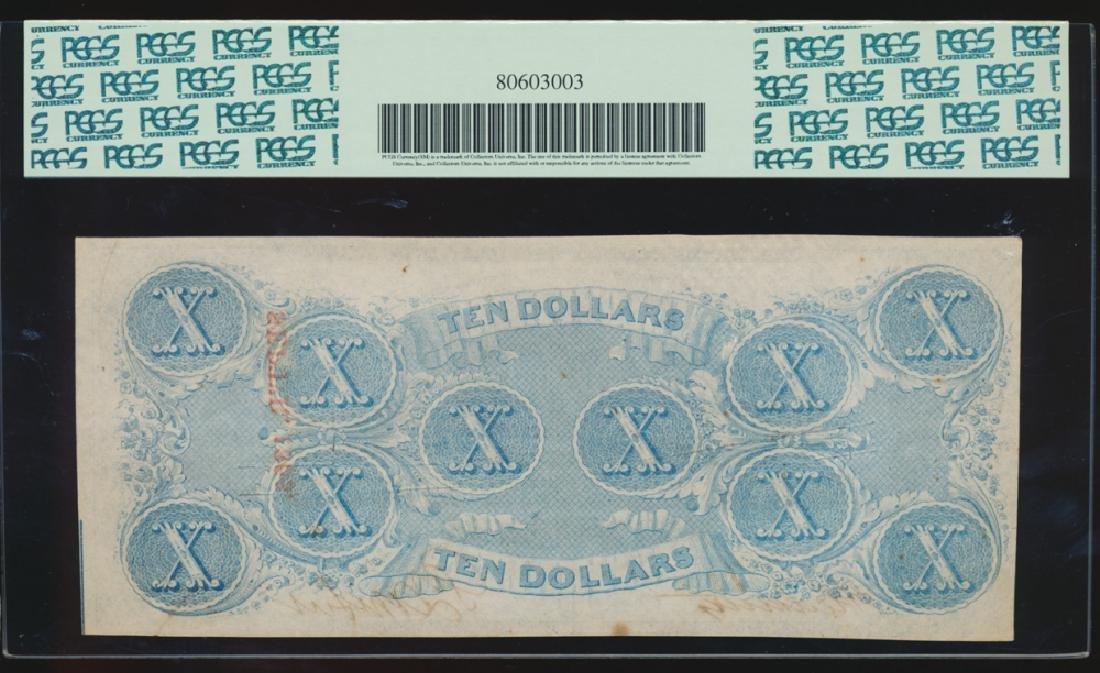 1863 $10 Confederate Cross Cut Cancelled Note PCGS 62 - 2