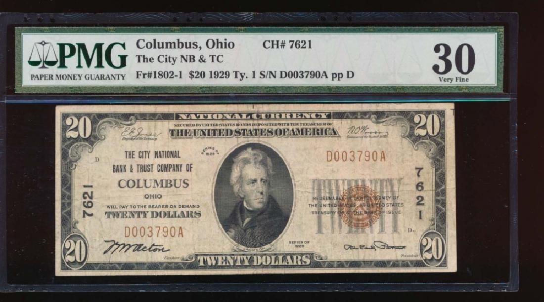 1929 $20 Columbus Ohio Nation Bank Note PMG 30