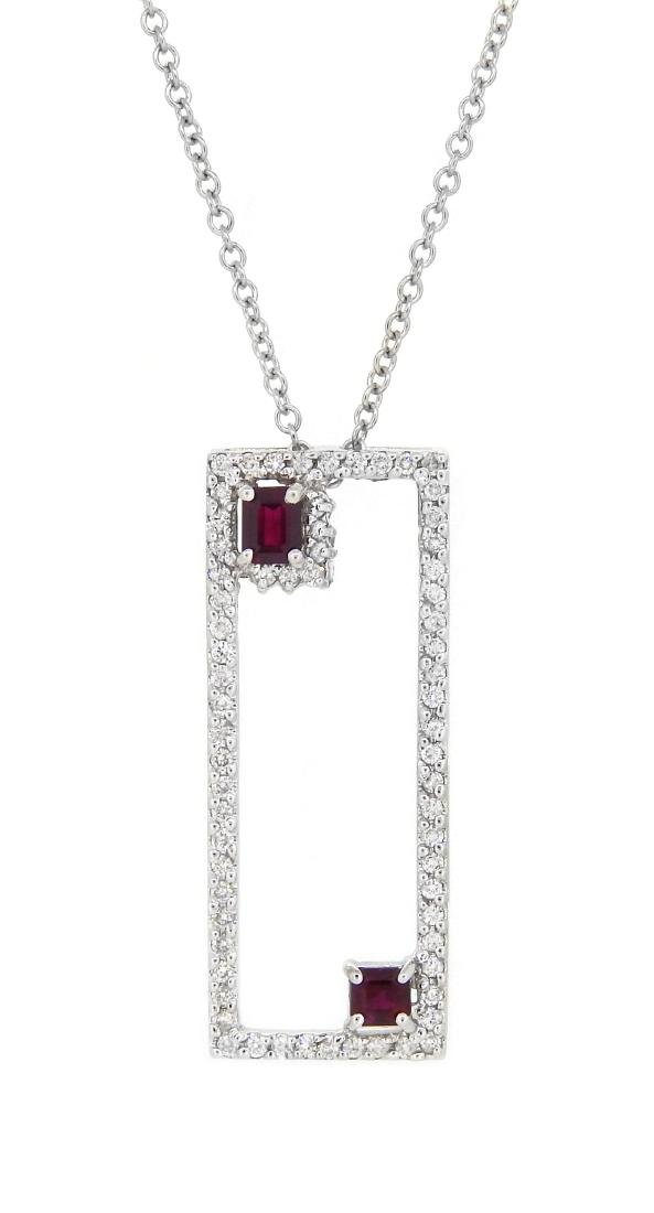14KT White Gold 0.68ctw Ruby and Diamond Pendant with